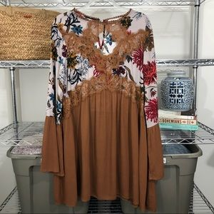 NWOT UMGEE | lace choker tunic dress floral print